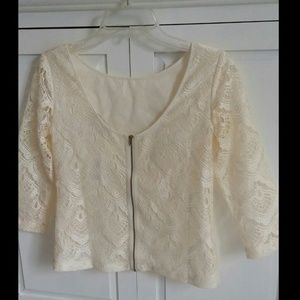 back Zip up Lace blouse