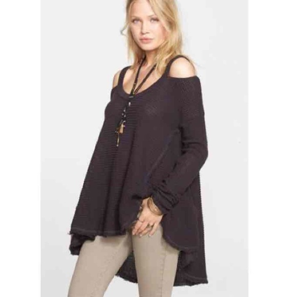 NWT $108 Free People Moonshine V-Neck Sweater Cold Shoulder Pullover Charcoal