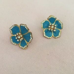 Turquoise and crystal flower post Earrings
