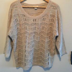 Lucky Brand L linen crocheted scoop-neck sweater