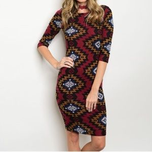Dresses & Skirts - 🆕 Burgundy tribal print dress