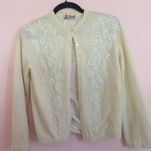 Pringle Sweaters - Vintage cashmere cardigan with beading.