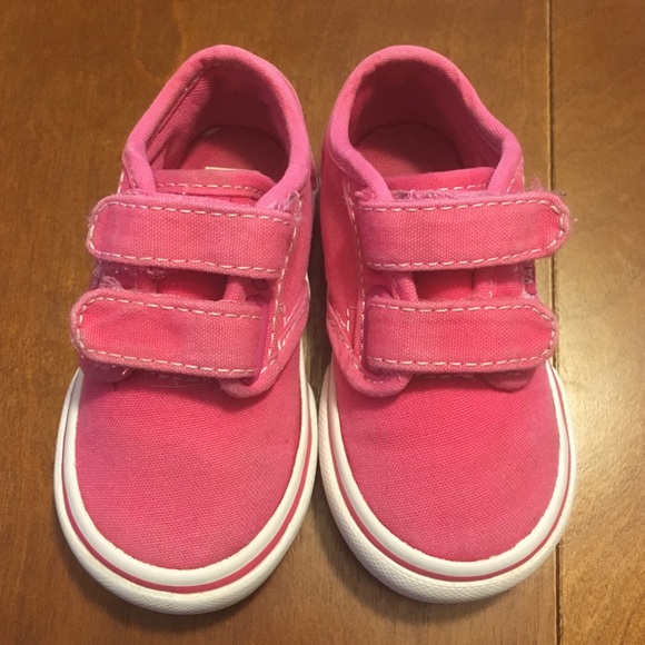 Toddler Vans hot pink Velcro shoes
