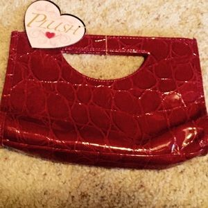 Handbags - Red Patent Leather Snakeskin Look Clutch Purse Bag