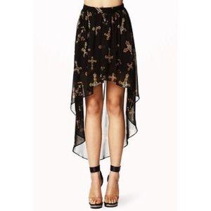 High low chiffon cross skirt