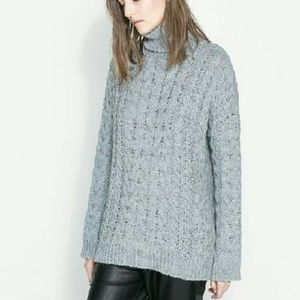 Zara Knit Chunky Cable Knit Turtleneck Sweater