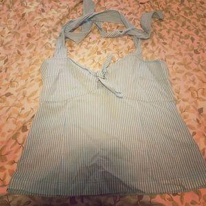 Kenzie girl blue pinstripe halter top