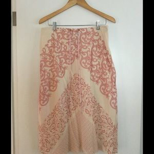 Banana Republic red/pink & cream midi skirt.