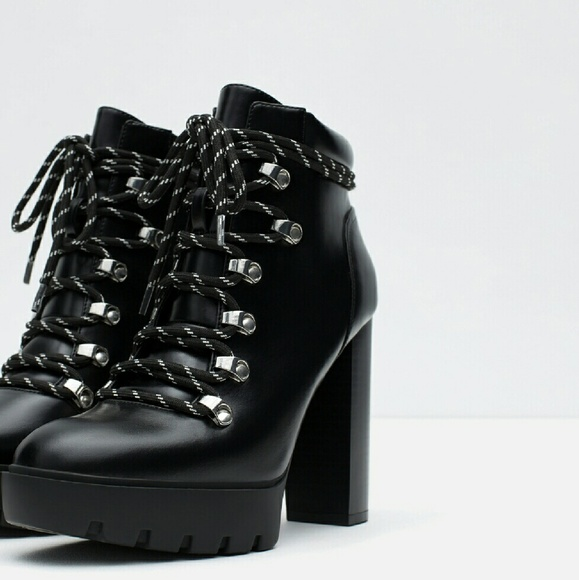 0288fd286e9 ZARA HIGH HEEL TRACK SOLE ANKLE BOOTS FIRM PRICE