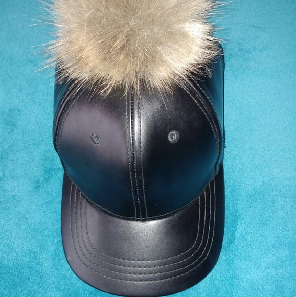 fcdf47516 Black Leather Hat With Puff Ball