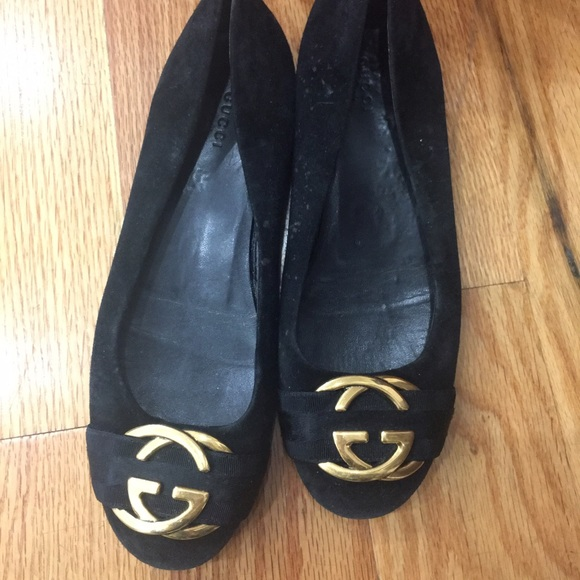 bba2f614fedb1 Gucci Shoes - Gucci suede flats with gold Gucci logo