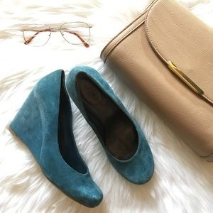 Nine West Shoes - Nine West Turquoise Suede Wedges