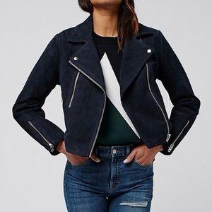 Topshop Navy Blue Suede Moto Jacket