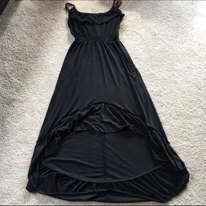 Dress, Black Hi-Lo Ruffled Cotton