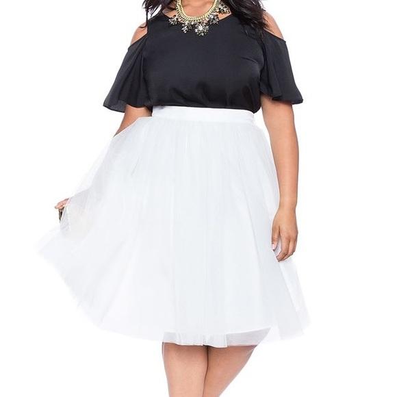 7601b63d370 NWT Eloquii Studio Tulle Midi Skirt - White
