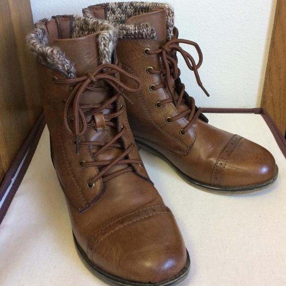 Mudd Shoes Brown Sweater Cuff Combat Boots Poshmark