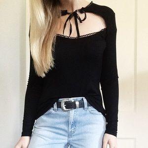 Boutique Tops - LAST ONE Tie Neck Choker Long Sleeve Top in Black