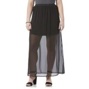 Illusion Maxi Skirt - Black