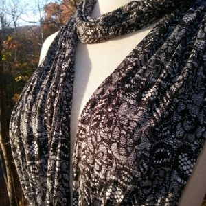 "Vintage Accessories - ""BLACK Lace"" Jersey Cotton Scarf"