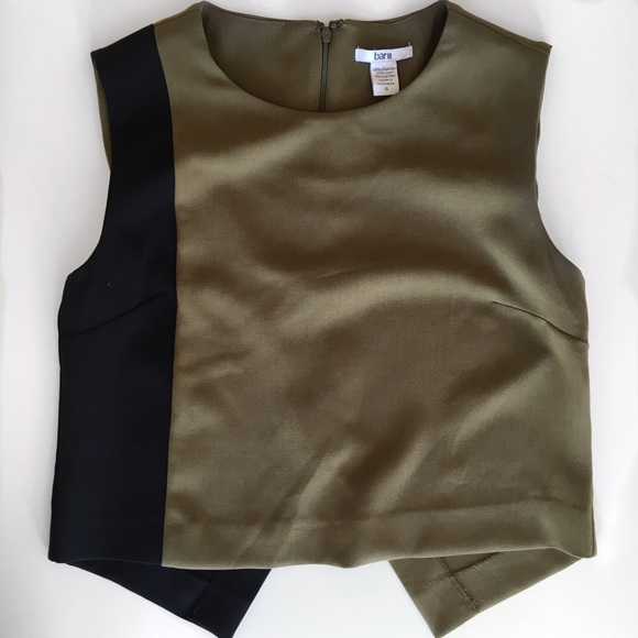 Bar III Tops - Bar III Khaki & Black Color Block Top