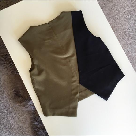 Bar III Tops - Bar III Khaki & Black Color Block Top