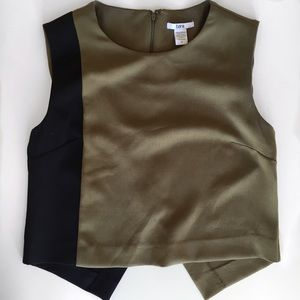 Bar III Khaki & Black Color Block Top