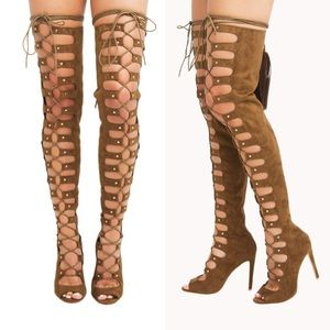 Olive/Brown Suede Lace Up Thigh High Heel Boots