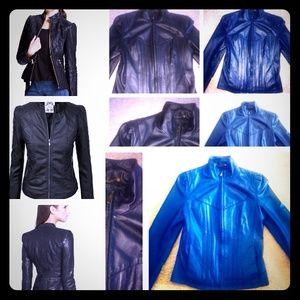 ❤️GUESS genuine leather jacket black biker jacket