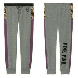VS PINK Gray Leopard Gym Pant