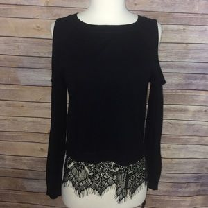 New Material Girl Black Cut Out Sleeve Top Medium
