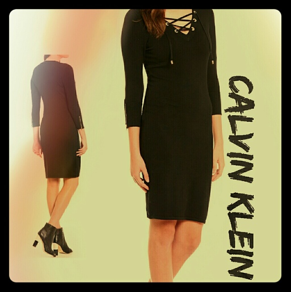 Ck Trendy Lace Up Sweater Dress