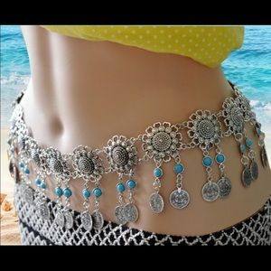 Accessories - Silver Flower Coin Bead Sexy Belly Chain Belt NWT