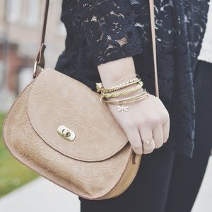 Handbags - Taupe Faux Leather Embossed Bag