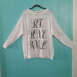 "Wildfox Sweaters - NWT Wildfox ""Let Love Rule"" RoadTripSweater"