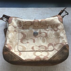 COACH brown leather, suede and signature handbag