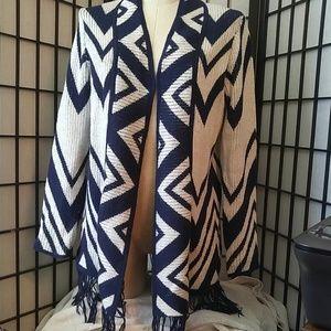 Chicos Navy/White Long Shrug Sweater Size 0 XS