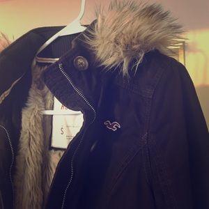Hollister Jackets & Blazers - Brown furry hollister jacket