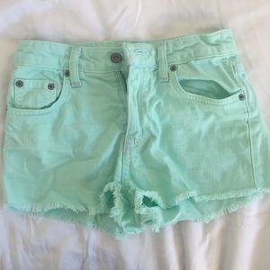 LF Pants - LF carmar mint green Jean denim shorts