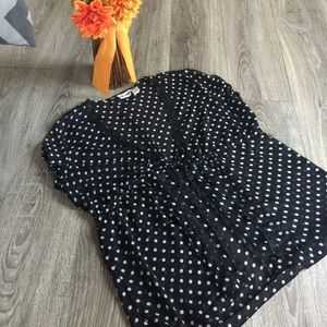 Polka Dot Sheer Cardigan Top Blouse Shirt