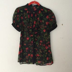Dolce & Gabbana Tops - Dolce and Gabbana sheer S/S blouse sz 40