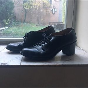 Shoes - Vintage Black Leather Lace-Up Block Heel Oxfords