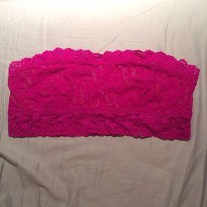 Magenta Pink Hanky Panky lace bandeau bra top