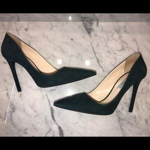 Prada Pointed Pumps in Hunter Green Suede, 38.5