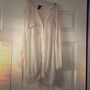 Torrid Cream chiffon blouse