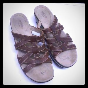 Eastland Shoes - Eastland Brown Tan Sandals 8 8M Strappy Pet Weave