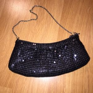 Handbags - Black satin-lined evening clutch with strap