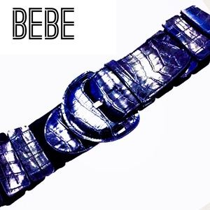 Bebe Black Leather Belt