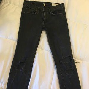 Rag & Bone Distressed Gray Skinny Jeans Sz 27