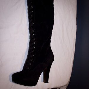 Shoes - Over the knee black laced up suede boots
