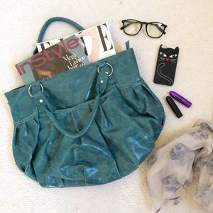 Amici Accessories Handbags - Teal Faux Leather Tote Bag